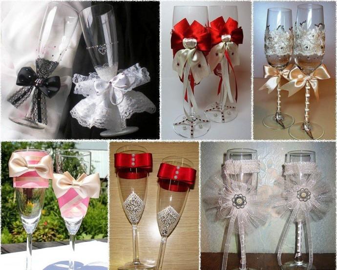 Свадебные бокалы на свадьбу своими руками