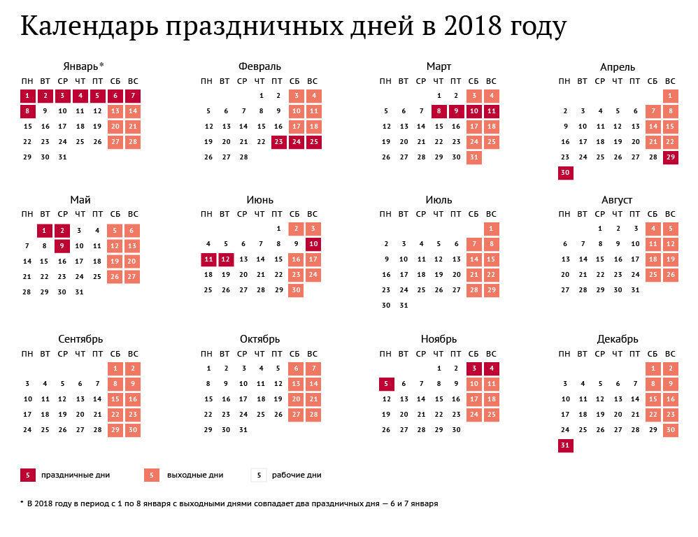 календарь праздников в 2018 году
